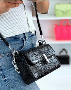 Black Croc-Effect Chain Shoulder Bag