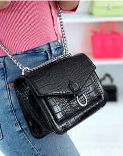 Black croc-effect crossbody bag