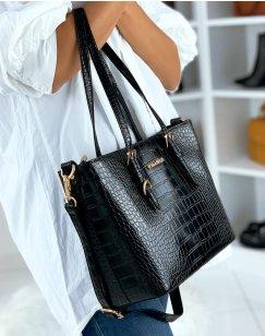 Black croc-effect handbag