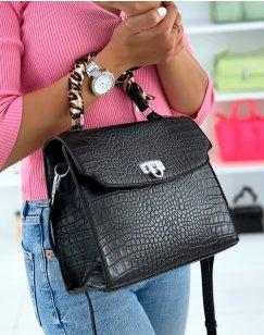 Black croc-effect handbag adorned with a scarf