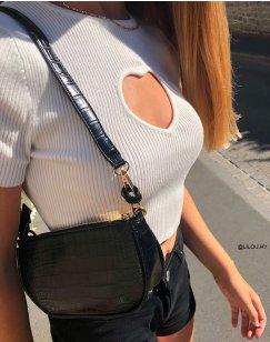 Black croc-effect handbag with golden chain