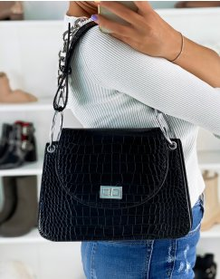 Black croc-effect rounded handbag with silver chain