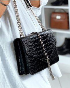 Black croc-effect shoulder bag with silver details