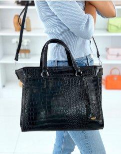 Black croc-effect tote bag