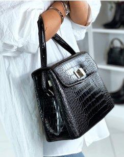 Black croc-effect trapeze handbag