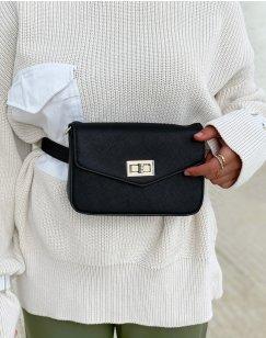 Black grained effect shoulder bag