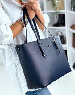 Blue cabat type handbag in imitation leather