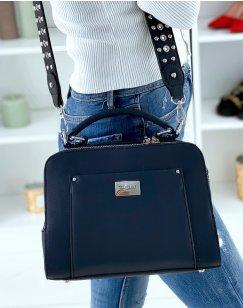 Blue Double Pocket Satchel Style Handbag