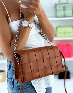 Camel checkered effect shoulder bag