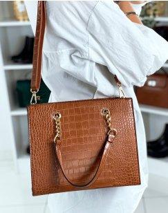 Camel croc-effect handbag with gold detail