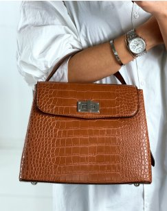 Camel croc-effect trapeze handbag