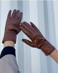 Gants en cuir chocolat LuluCastagnette clouté