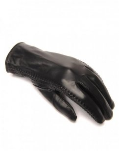 Gants en cuir noir LuluCastagnette brodé