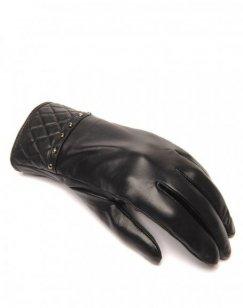Gants en cuir noir LuluCastagnette clouté