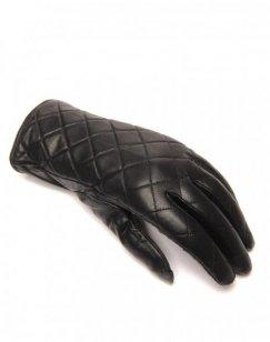 Gants en cuir noir LuluCastagnette matelassé
