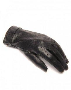 Gants en cuir noir LuluCastagnette perforé