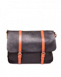 Grand sac bandoulière vintage noir et camel