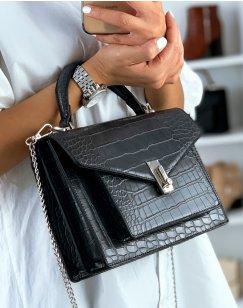 Gray croc-effect handbag