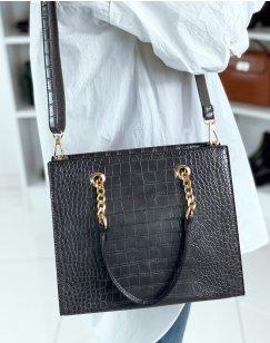 Gray croc-effect handbag with gold detail
