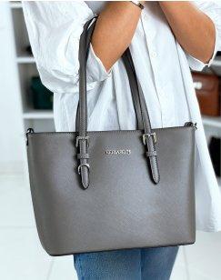 Gray faux leather handbag