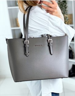 Gray tote bag in faux leather