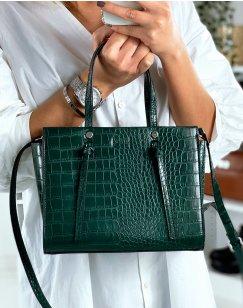 Green croc-effect handbag