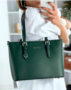Green faux leather handbag