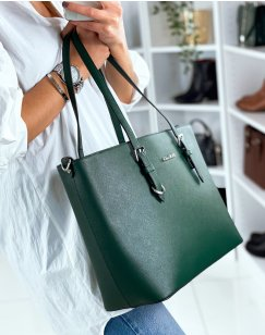Green tote bag in faux leather