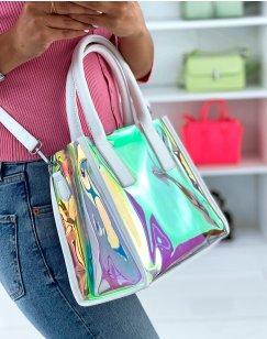 Holographic white handbag