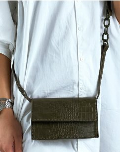 Khaki croc-effect shoulder bag