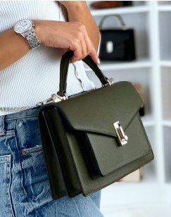 Khaki satchel style handbag