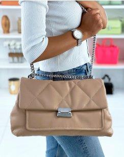 Large quilted beige shoulder bag