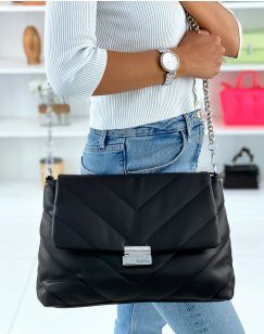 Large quilted black chevron crossbody bag