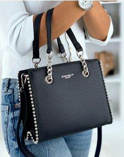 Midnight blue studded handbag
