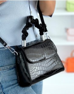 Mini black bag with gathered handle