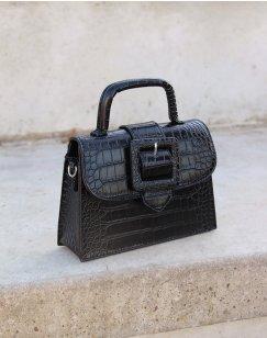 Mini black croc-effect square strap bag