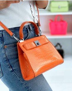 Mini orange croc-effect handbag