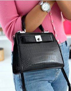 Mini sac à main effet croco noir verni