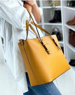 Mustard cabat type handbag in faux leather