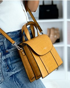 Mustard croc-effect trapeze handbag with double opening
