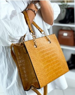 Mustard handbag with gold croc-effect detail