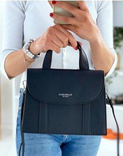 Navy blue trapeze handbag
