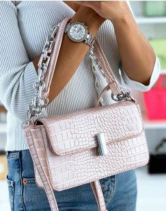 Pale Pink Croc-Effect Chain Shoulder Bag