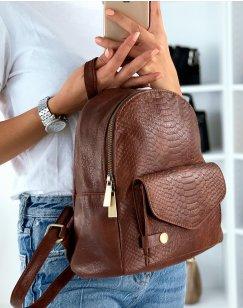 Petit sac à dos marron effet croco