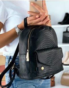 Petit sac à dos noir effet croco