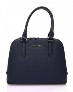 Petit sac à main bleu marine arrondi à doubles compartiments