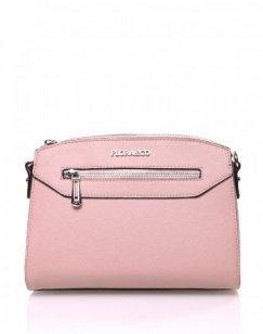Petit sac bandoulière rectangulaire texturé rose pale