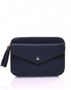 Petit sac bandoulière texturé bleu marine et fermeture pompon