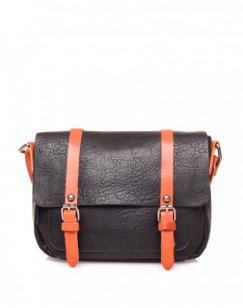 Petit sac bandoulière vintage noir et camel