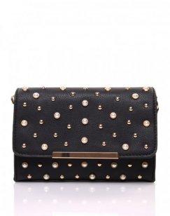 Petit sac en bandoulière orné de perle noir
